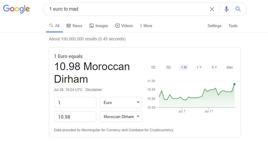 euro to moroccan dirhams