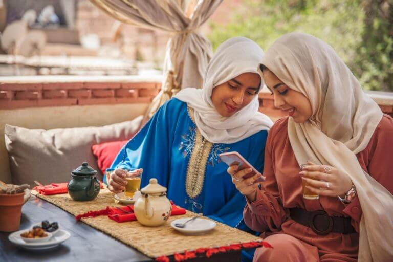 Morocco women drinking tea