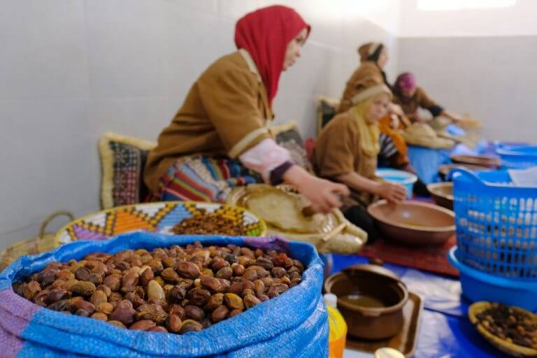 Morocco women making argan oil